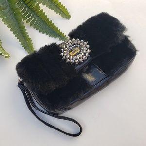 Chico's Faux Fur Jeweled Wristlet